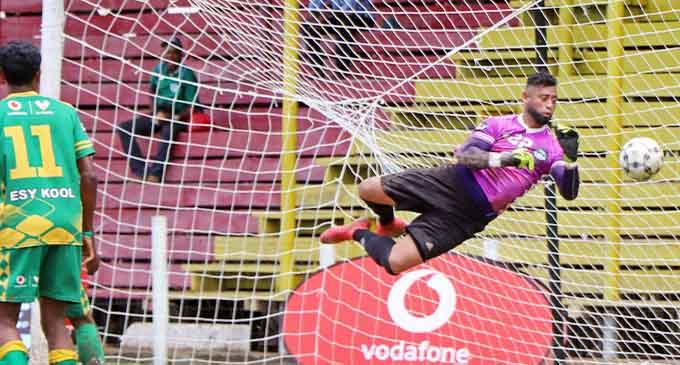 Vinz Works Suva goalkeeper Beniamino Mateinaqara makes a diving save against Ezy Kool Nadi in the Vodafone Fiji FACT final at Subrail Park, Labasa, on December 6, 2020. Mateinaqara also received the Golden Glove Award. Suva won 1-0. Photo: Fiji FA Media