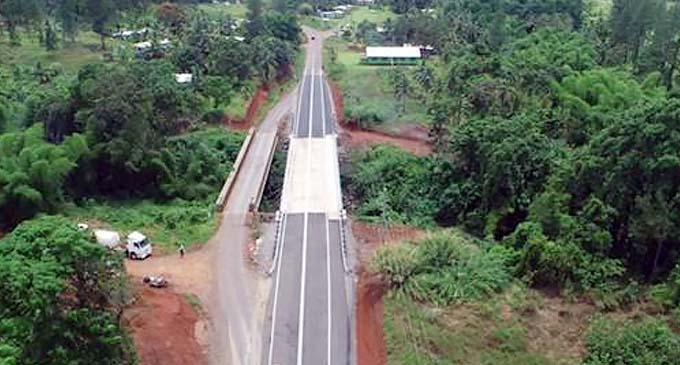 Aerial view of the new Vesidrua Bridge.
