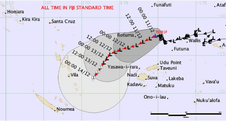 Tropical Disturbance TD01F Intensifies Into A Depression And  Remains To The North Of Fiji