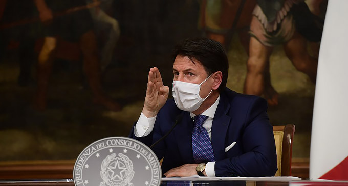 Italian Prime Minister Giuseppe Conte speaks at a press conference in Rome, Italy, on Dec. 3, 2020. (Pool via Xinhua)