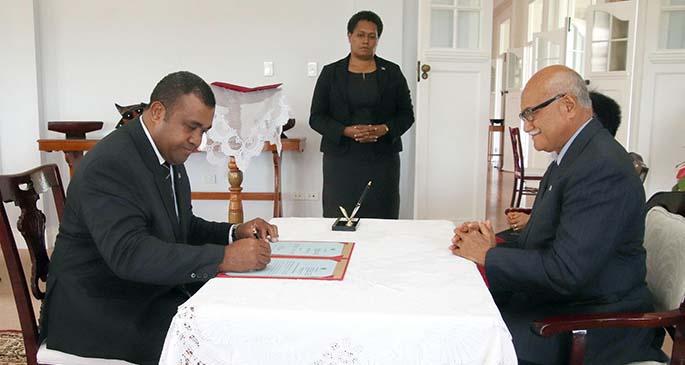 Commissioning of Fiji's Ambassador to the United Arab Emirates (UAE), Mr. Naipote Tako Katonitabua at the State House.