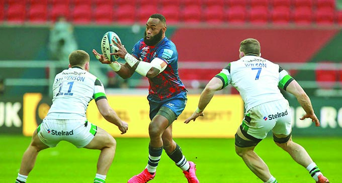 Semi Radradra on the attack against Newcastle Falcons on January 2, 2020. Photo: Bristol Bears Rugby