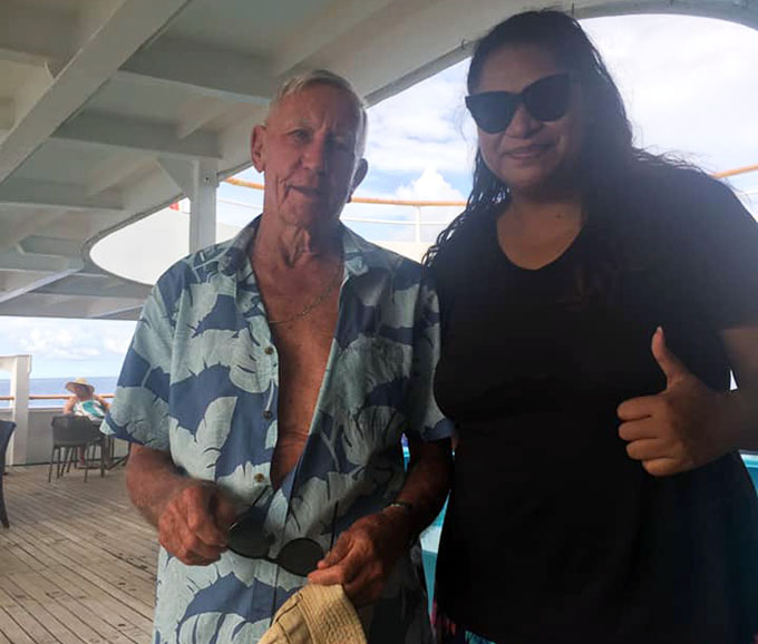Businessman Graham Eden with Mele Raturaga onboard the Captain Cook Cruises Fiji MV Reef Endeavour, three/four Night Yasawa Islands Cruises from December 28, 2020 to January 2, 2021.