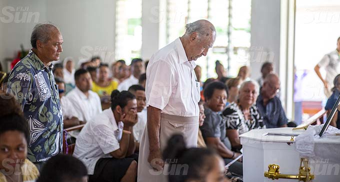 Speaker of the House, Ratu Epeli Nailatikau, bids his old friend, Patrick Chute, a final farewell, at St Joseph The Worker parish church, in Samabula. Photo: Leon Lord