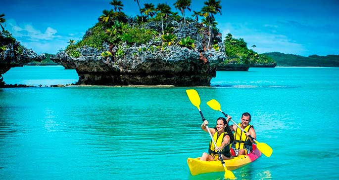 Guests on the MV Reef Endeavour get to enjoy a hive of activities as part of the tour, including water sports such as kayaking.