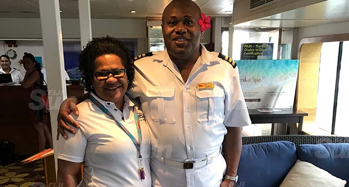 From left: Captain Cook Cruises Fiji nurse Frances Aisea with Hospitality Manager Ilisoni Vibose. Photo: Maraia Vula