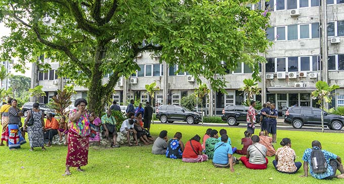 Nakasi market vendors outside the Government building in Suva on January 12, 2021. Photo: Leon Lord