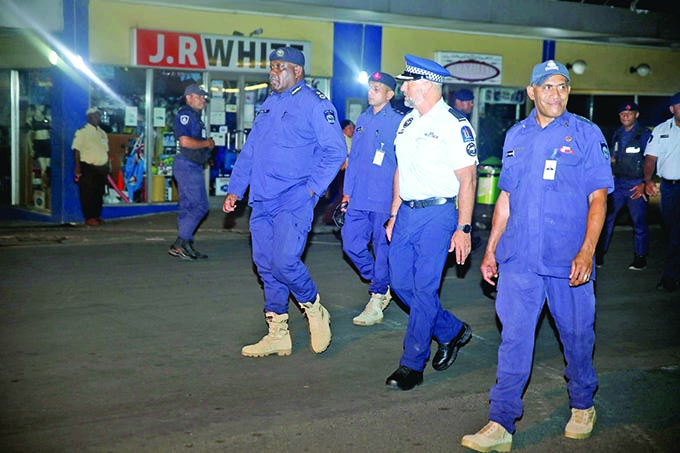 Acting Commissioner of Police Rusiate Tudravu and Inspector Paris Rasoz of the Royal New Zealand Police Force and team of Police officers during Police New Year's operation around Suva on December 31, 2020.  Photo: Police Media Cell
