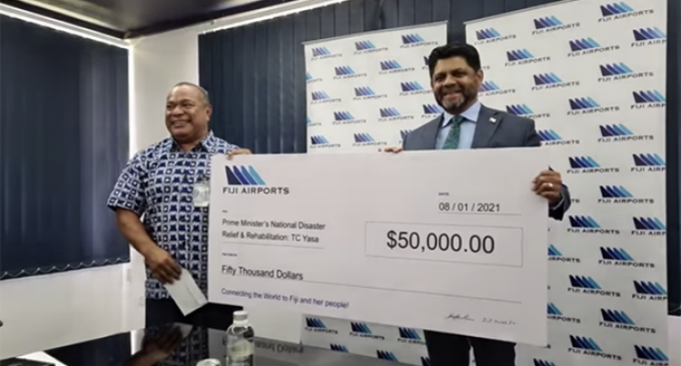 Fiji Airports Contributes $50K Towards PM's TC Yasa Relief Fund