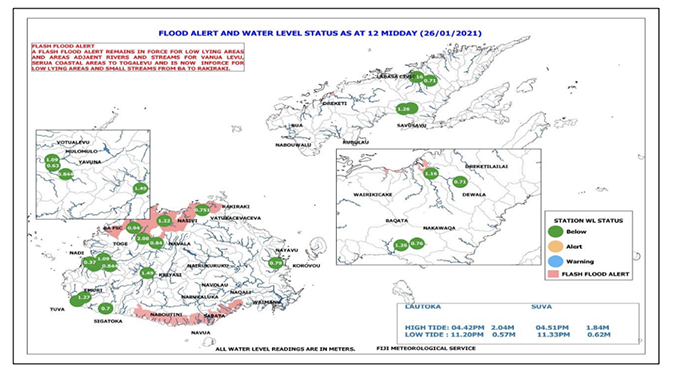 Figure 2: Flash Flood Alert Map at 12pm today, 26 January, 2021.