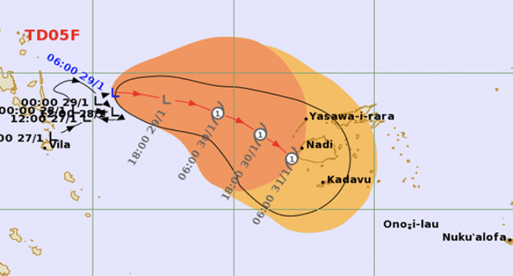 TD05F Currently Moving Eastwards Towards Fiji