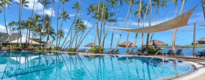 Shangri-La's Fijian Resort and Spa poolside area.