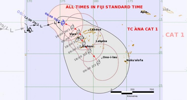TD05F Intensifies Into A Category 1 Tropical Cyclone Ana And Continues To Move Closer Towards Fiji