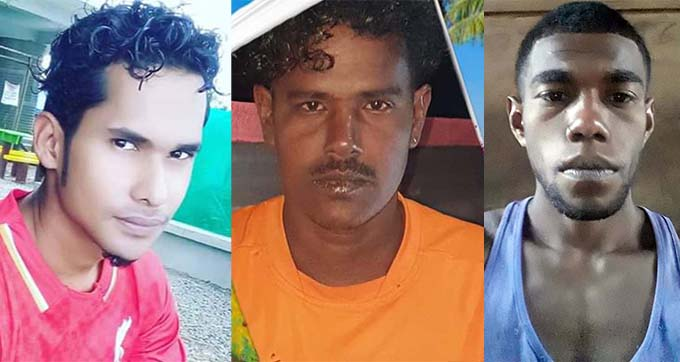 Missing fisherman, William Ryder, Missing fisherman, Kamlesh Prakash and Missing fisherman, Rajendra Swami.