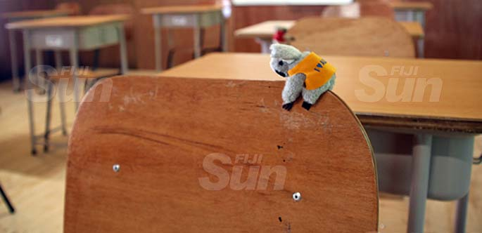 Koala clip ons attached to the chairs in the classroom of Galoa Island Primary School. Photo: Jennis Naidu