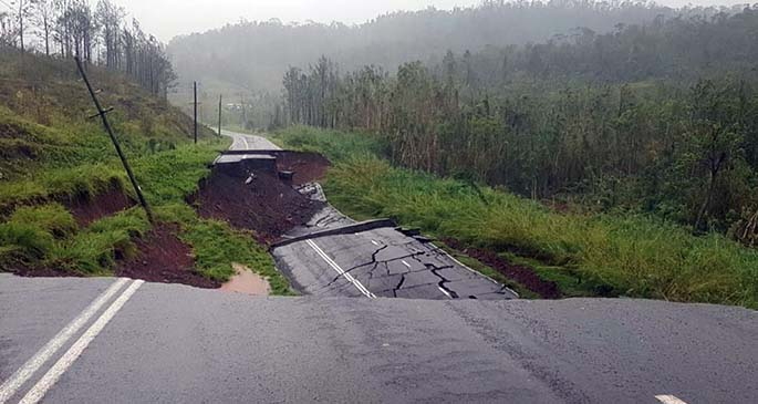 Korosomo Hill Passing Lane on Nabouwalu Road between Labasa and Seaqaqa.