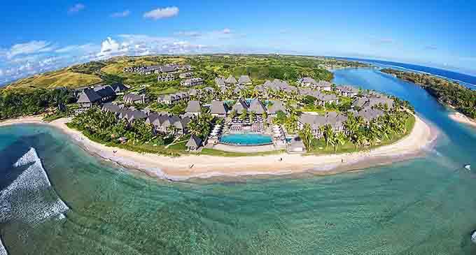 Aerial view of the InterContinental Fiji Golf Resort and Spa along Natadola Bay.