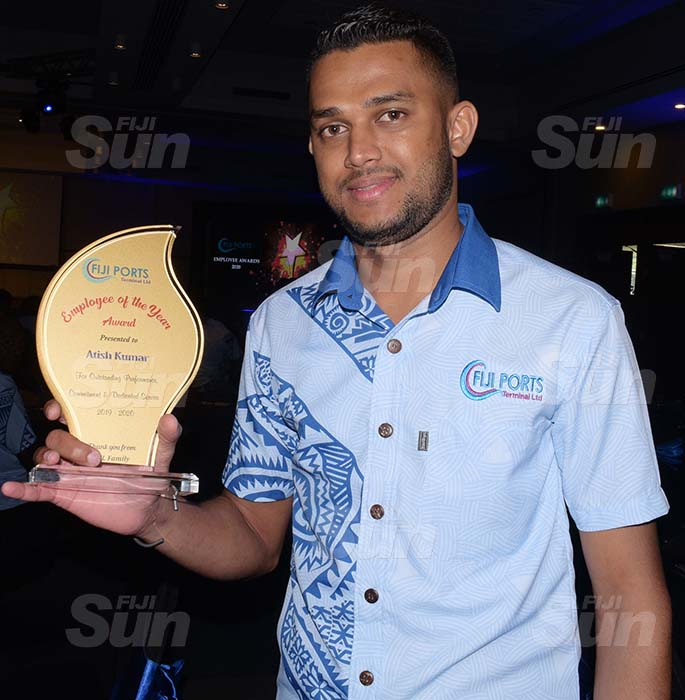 Fiji Ports Terminal Limited Employee of the year award winner, Atish Kumar following the Employees Awards day at Grand Pacific Hotel on February 20, 2021. Photo: Ronald Kumar.