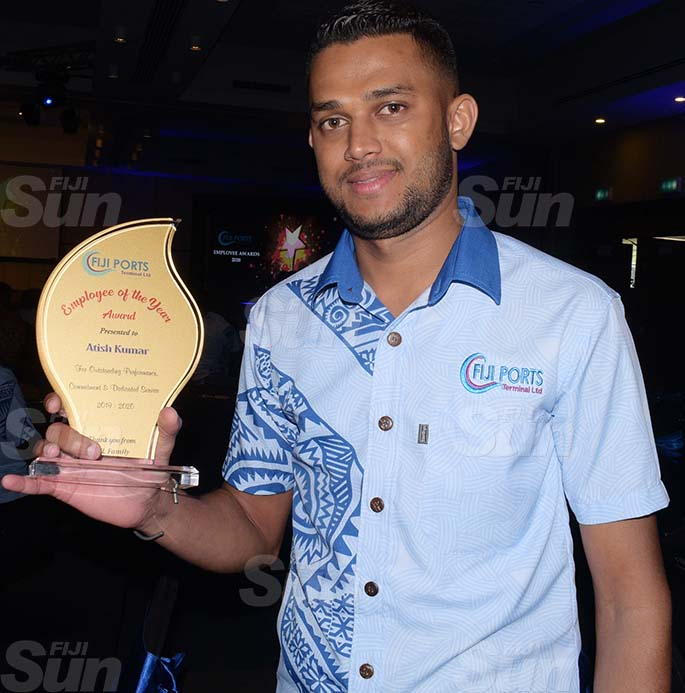 Fiji Ports Terminal Limited Employee of the year, Atish Kumar following the Employees Awards day at Grand Pacific Hotel on February 20, 2021. Photo: Ronald Kumar