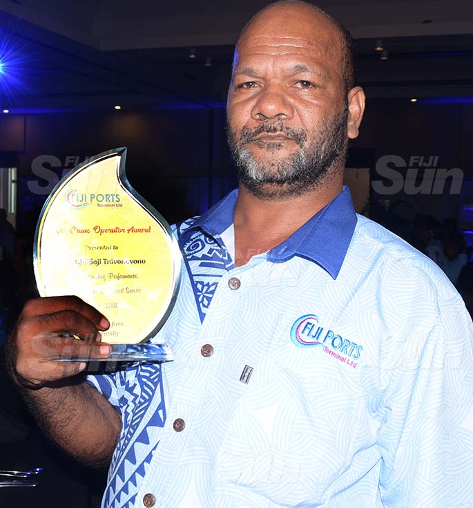 Fiji Ports Terminal Limited Employees awards best crane operator winner, Ratu Kini Jojituivono at Grand Pacific Hotel on February 20, 2021. Photo: Ronald Kumar.