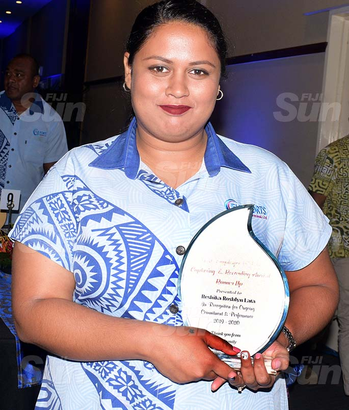 Fiji Ports Terminal Limited Employees Awards Data capturing and  Recording awards runner up, Reshika Lata at Grand Pacific Hotel on February 20, 2021. Photo: Ronald Kumar.