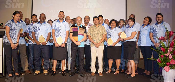 Fiji Ports Terminal Limited Employees Award winners with Chief executive officer Hasthika Dela, Vajira Piyasena Chief Executive Officer for Fiji Ports Corporation Limited (FPCL) and Board Chairman Hasmukh Patel at Grand Pacific Hotel on February 20, 2021. Photo: Ronald Kumar.