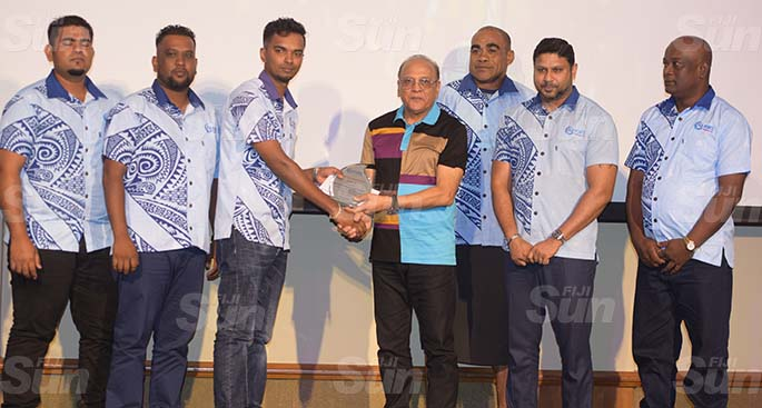 Fiji Ports Terminal Limited Chairman Hasmukh Patel awards runner-up Best Department team Mechnical Lautoka during their Employee award at Grand Pacific Hotel on February 20, 2021. Photo: Ronald Kumar.