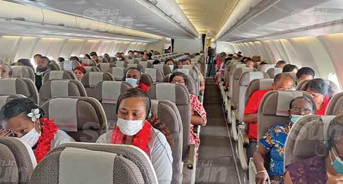 Guests on board the Fiji Airways Special Valentine's Day Flight FJ679 on February 14, 2021. Photo: Maraia Vu