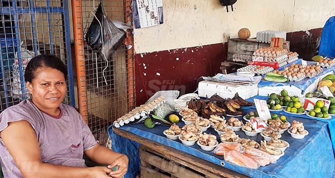 Iowana Eva at her stall at the Lautoka market on February 14, 2021. Photo: Salote Qalubau