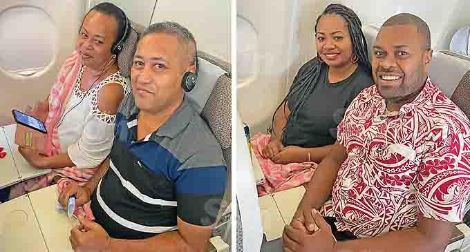 Joe and Luisa Tigarea on board the Fiji Airways Special Valentine's Day Flight with Esava Mara and Dr Sainimili Bulatale also on board for the FJ679 flight on February 14, 2021. Photo: Maraia Vula