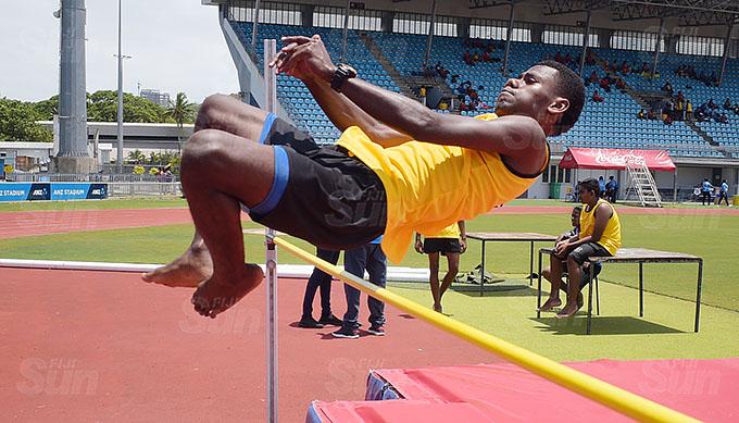 Sailusi Ratu cleared the bar during Muaniweni College inter-house high jump finals at ANZ Stadium on February 24, 2021. Photo: Ronald Kumar