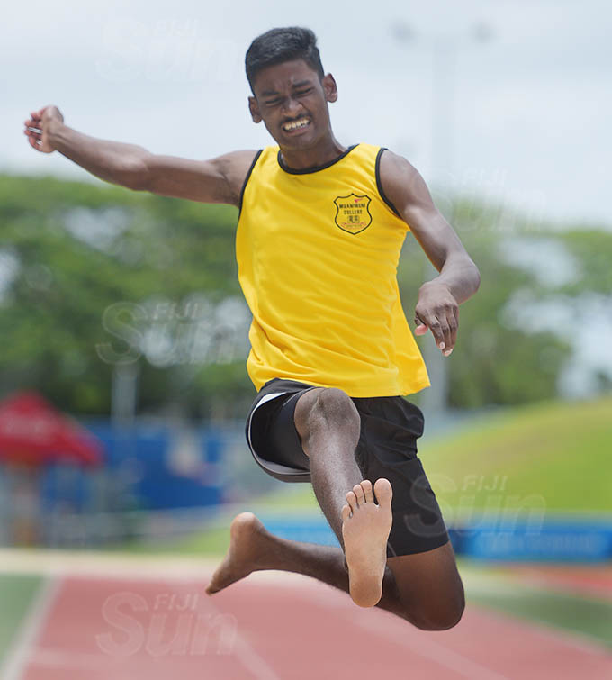 Muaniweni College athlete Ayush Aman Deo during his winning high jump at School Inter-house event at ANZ Stadium on February 24, 2021. Photo: Ronald Kumar.