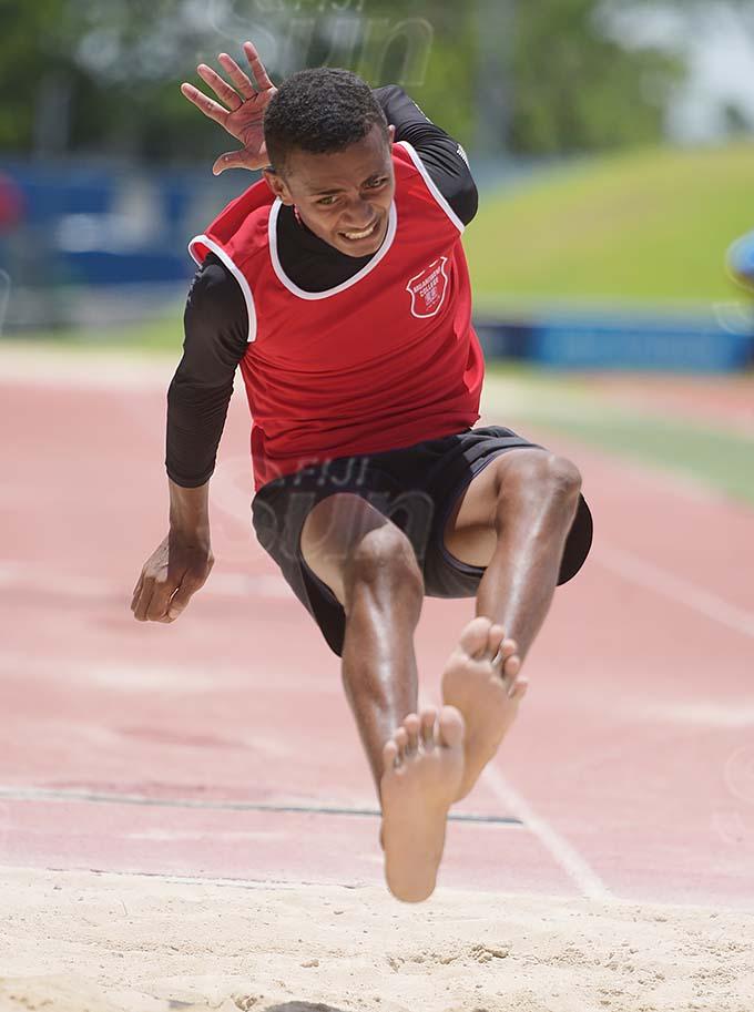 Kaminieli Roko during Muaniweni College inter-house inter-boys long jump final at ANZ Stadium on February 24, 2021. Photo: Ronald Kumar