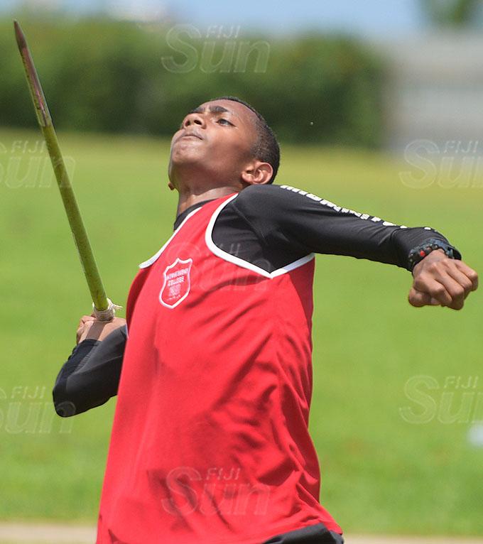 Kaminieli Roko during Muaniweni College inter-house javelin throw final at ANZ Stadium on February 24, 2021. Photo: Ronald Kumar
