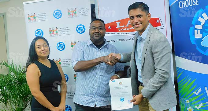 From left, P A Lal Group of Companies group operations manager, Marissa Lal, group general manager, Lawrence Robert and Permanent Secretary for Commerce, Trade, Tourism and Transport, Shaheen Ali. Photo: Shreya Kumar