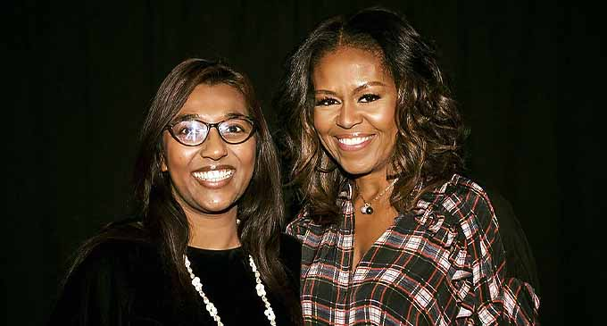 Roshika Deo (left) with former United States of America first lady Michelle Obama.