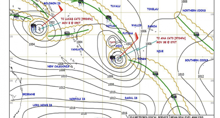 TC Ana Downgraded To Cat 2 While TD07F Weakens Further Into A Low Pressure System