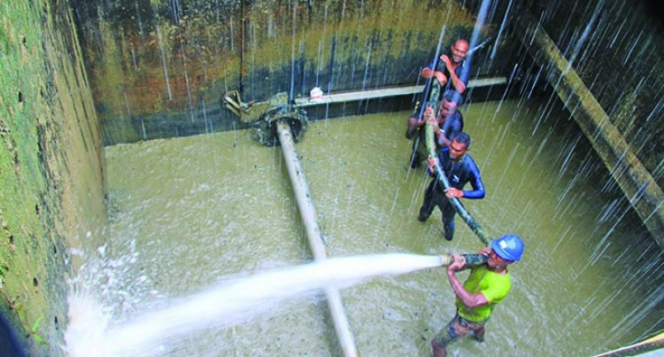 Crew Brave The Flood To Restore Water