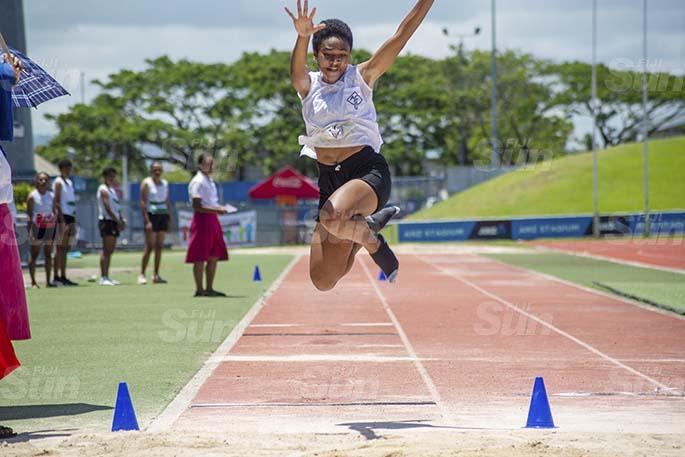 Lagakali house senior gilrs long jumper, Tokasa Turuva, during the ACS interhouse competition at the ANZ Stadium in Laucala Bay , Suva, on Febuary 20, 2021. Photo: Leon Lord