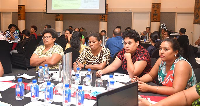 Frontline workers who underwent a COVID-19 vaccination administering training at Tanoa International Hotel on March 5, 2021.