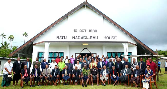 Members of the Kadavu Provincial Council with Acting Commissioner of Police Rusiate Tudravu during the opening of the Kadavu Provincial Council meeting on March 24, 2021 in Tavuki village, Kadavu. Photo: Fiji Police Force