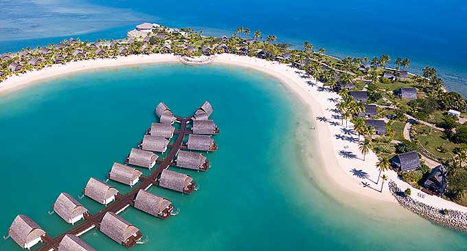 An aerial image of Marriott Momi Bay Resort.