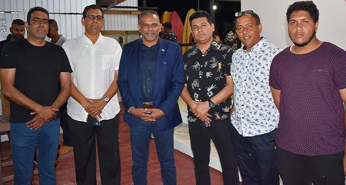 From left: Irish Khan, Bobby Khan, Minister for Commerce, Trade, Tourism and Transport, Faiyaz Koya, Altaaf Jamal, King Anwar Hussain and his son, Faroon Anwar Hussain at Fantasy Island on February 27, 2021.