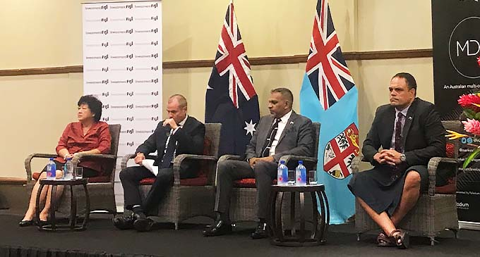 Investment Fiji Board Chair Jenny Seeto, Australian High Commissioner to Fiji John Feakes, Minister for Commerce, Trade, Tourism and Transport Faiyaz Koya and Investment Fiji Chief Executive Officer Craig Strong.