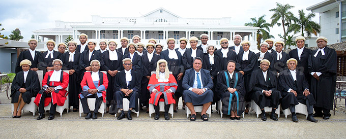 University of South Pacific young Law graduates with Acting Chief Justice Kamal Kumar following his admission into the Bar at Grand Pacific Hotel on March 12, 2021. Photo: Ronald Kumar.