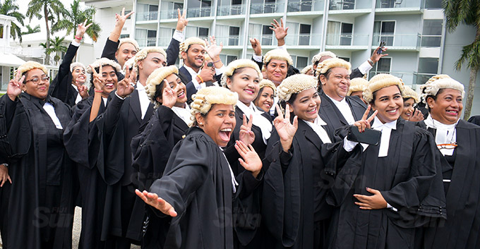 University of South Pacific young Law graduates following their admission into the Bar at Grand Pacific Hotel on March 12, 2021. Photo: Ronald Kumar.
