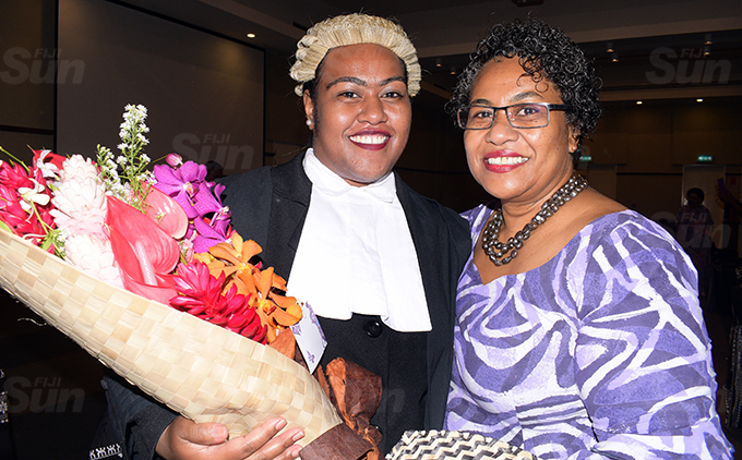 Amele Adikuila Waqairawai (left) with her mother, Kiti Waqairawai following her admission into the Bar at Grand Pacific Hotel on March 12, 2021. Photo: Ronald Kumar.