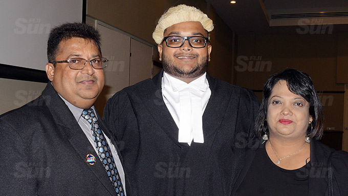 Sahil Sharma with Parents Salen and Prakashni Sharma following his admission into the Bar at Grand Pacific Hotel on March 12, 2021. Photo: Ronald Kumar.