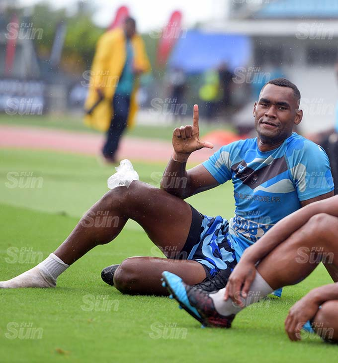 Blue Damond under 21 player Nasoni Nanawanawailagi (left) with fellow player during Marist Sevens. Photo: Ronald Kumar.