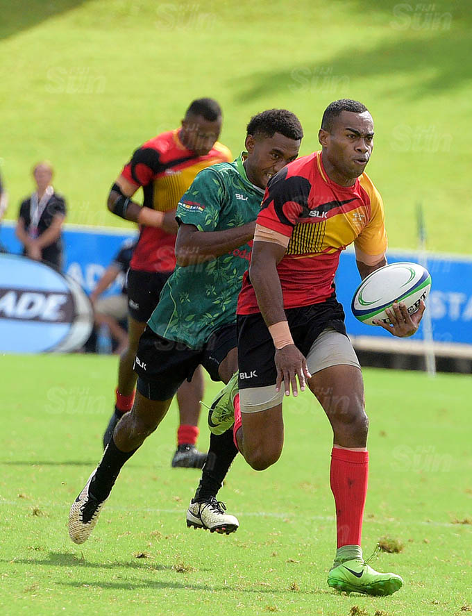 Vuiviwa Naduvalo of Fire scores there final try against Bua K9 during Marist Sevens at ANZ Stadium on March 26, 2021. Photo: Ronald Kumar.